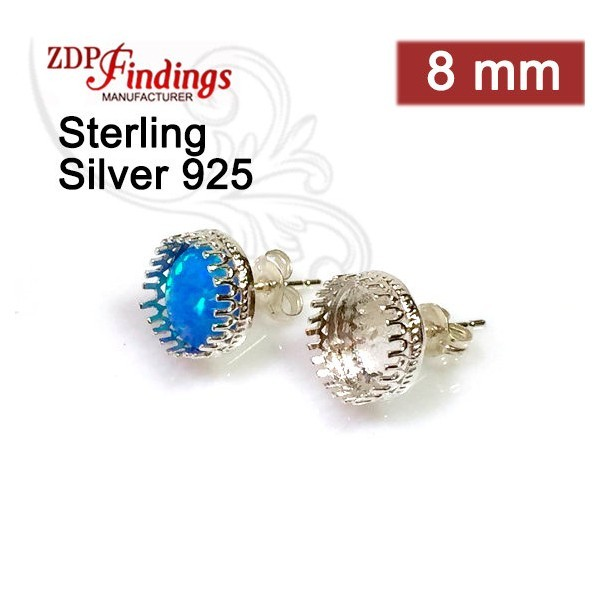 Round 8mm Post Earring, 925 Sterling silver