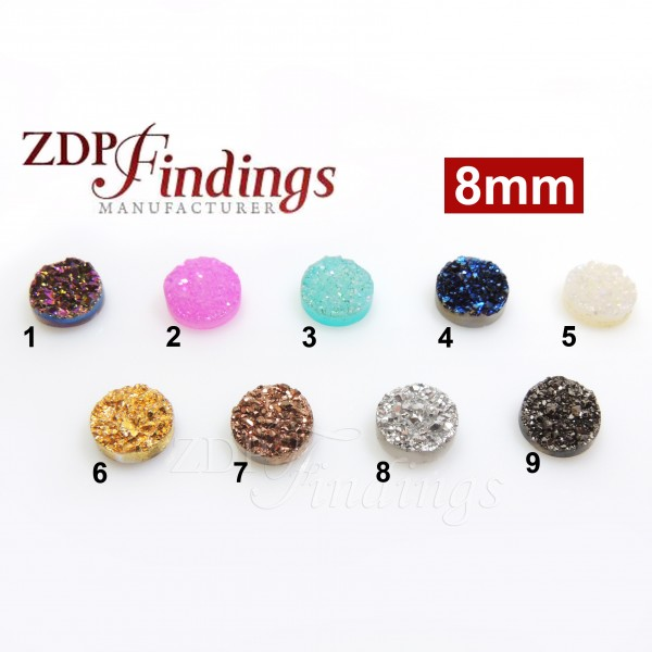 Round 8mm Natural Druzy Gemstone Flat Back