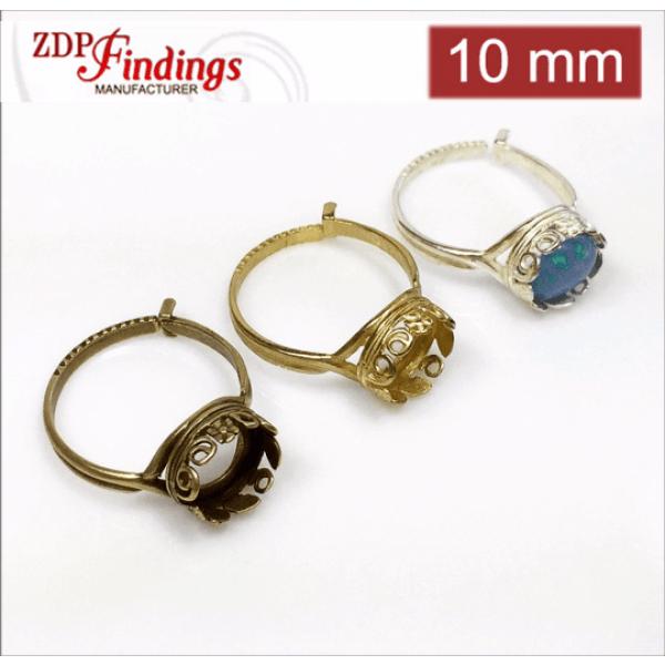 10mm Round Ring Base Shiny Silver,