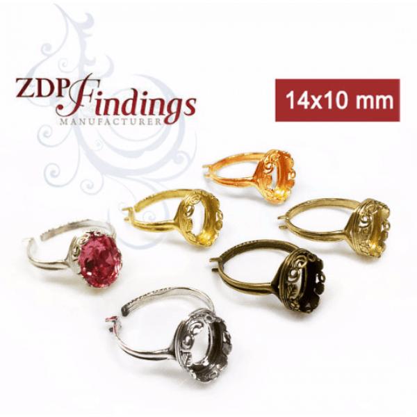 14x10mm cast bezel cups ring