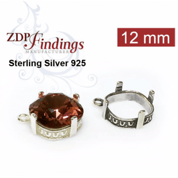 12mm Square (cushion) 925 Sterling silver Bezel, choose your finish.