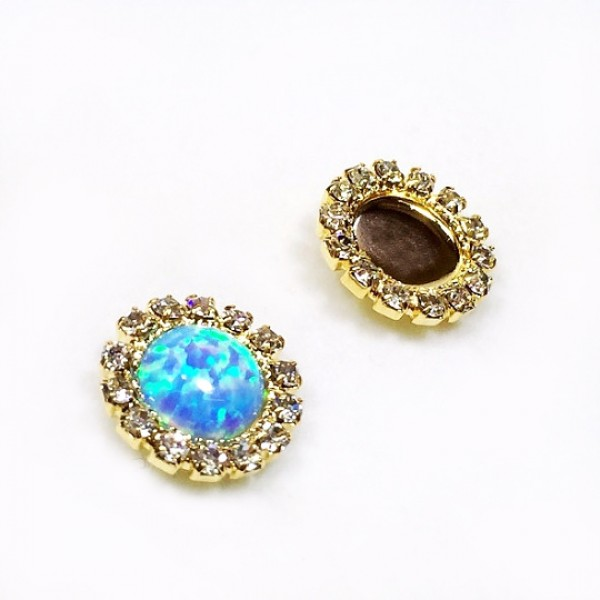 Round 8mm Bezel Gold Plated Post Earrings