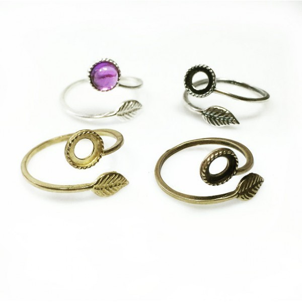 6mm Round Ring Base Shiny Silver, Choose your finish.