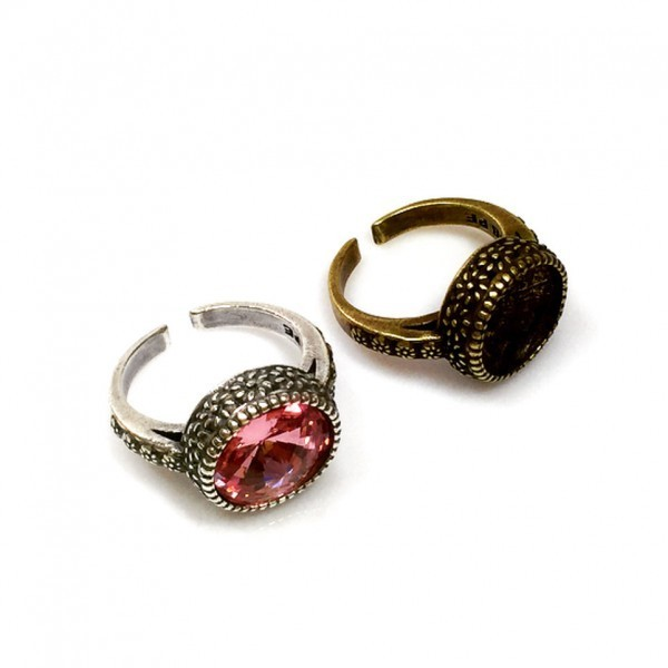 12mm Round Ring Base Antique Silver, Choose your finish.