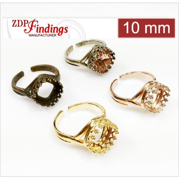 10mm Bezel Cups Ring For Setting Swarovski 4470. Choose your finish