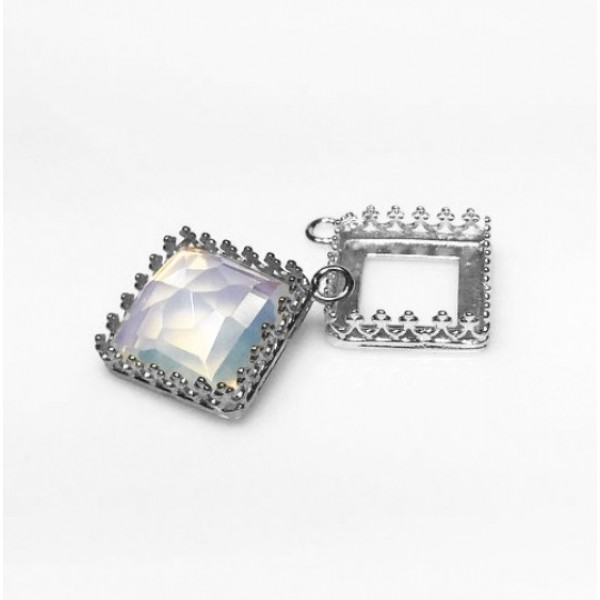 Square 12mm Silver 925 Bezel Cup Setting  -Shiny Silver
