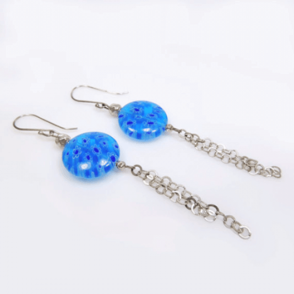 Sterling silver 925 Handmade Dangle Earrings,Bךוק Murano Glass