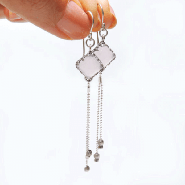 Sterling Silver 925  Square Crown, Dangle Earrings with Natural Rose Quartz