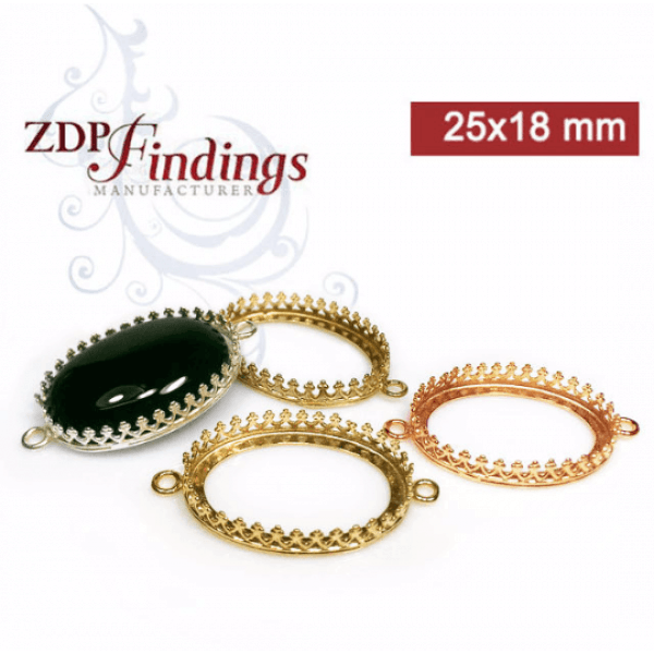 25x18mm Oval Brass Crown Bezel, choose your finish