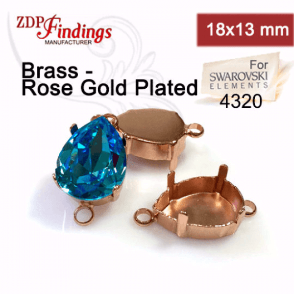 4320 Pear 18x13mm Connector, Rose Gold