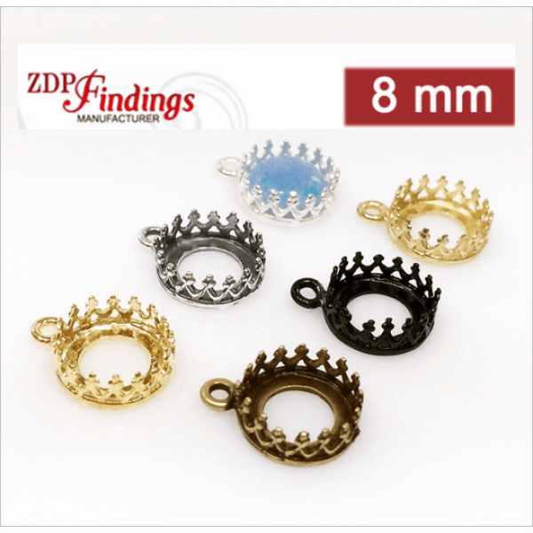 8mm Round Brass Bezel, choose your finish.