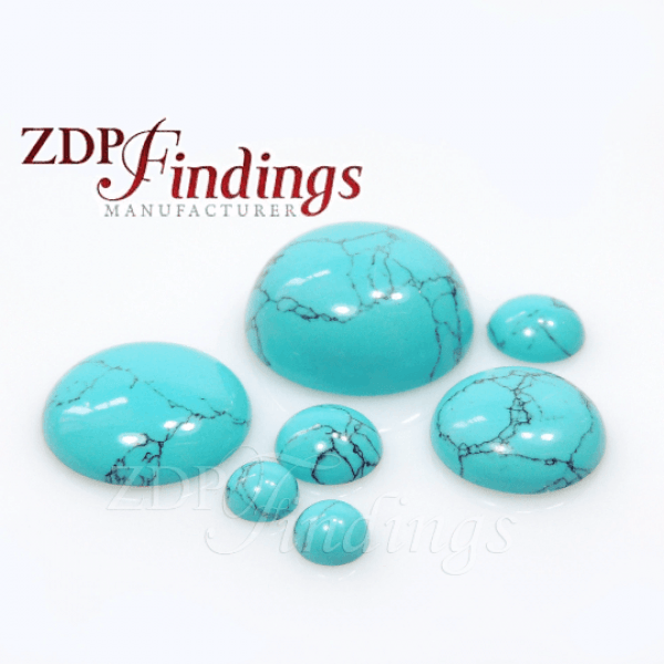 Turquoise Stripes Round Cabochon, Choose your size.