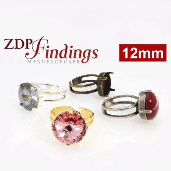 Round 12mm Adjustable Ring Bezel For Setting Suitable Swarovski Rivoli 1122