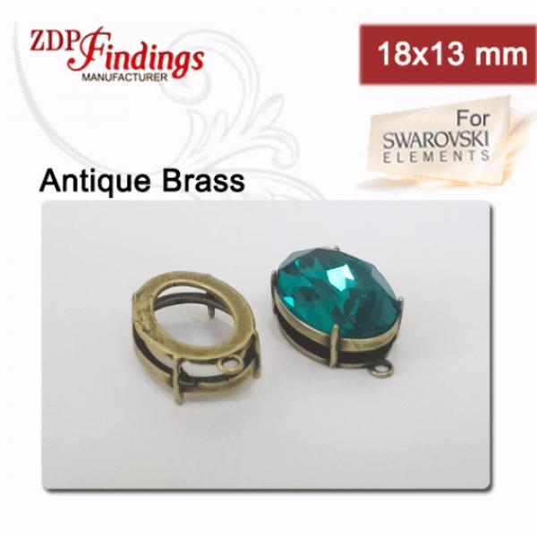 Quality Cast 18x13mm Oval Pendant, Bezel Settings, fit Swarovski 4120