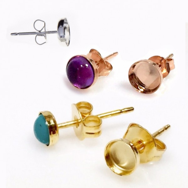 Round 6mm Brass Plated Bezel Earring Post