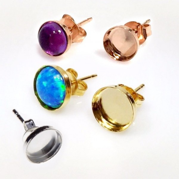 Round 8mm Brass Plated Bezel Earring Post