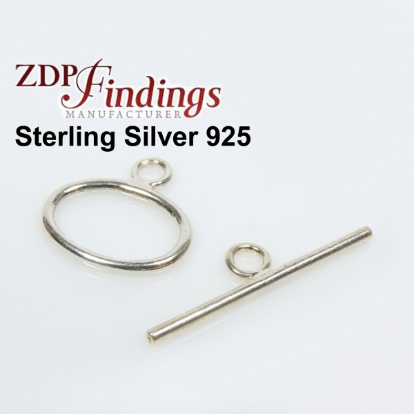Sterling Silver 925 Round Toggle Clasp 14x10mm