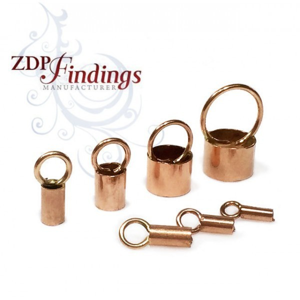 Rose Gold Filled End Cap, choose your hole diameter.