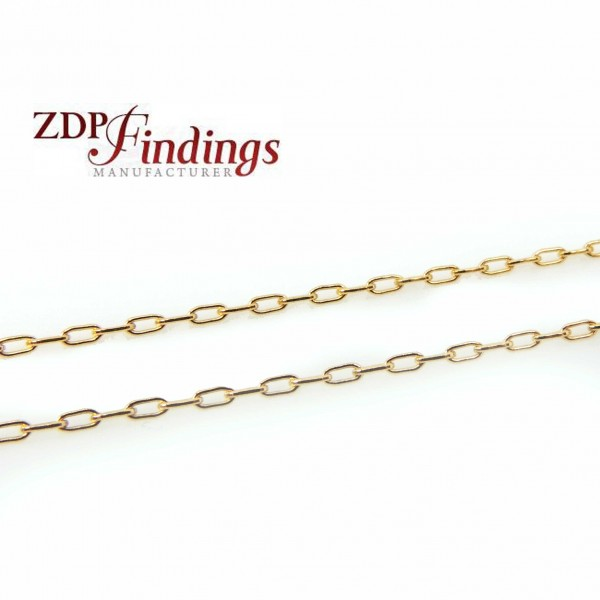 1mm 14k Gold Filled Flat Cable Chain