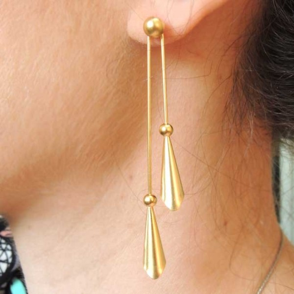 70mm Cones and Beads Post Wire Earrings