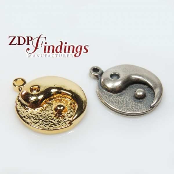 22mm Round Yin Yang Symbol Charm Pendant