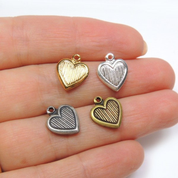 12mm Striped Heart Charm Pendant