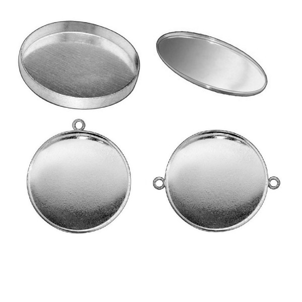 22mm Round 925 Sterling silver Bezel Cup Connector