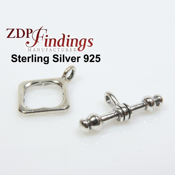Sterling Silver 925 Square Toggle Clasp 10mm