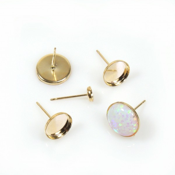 Gold Filled Round Bezel Post Earrings