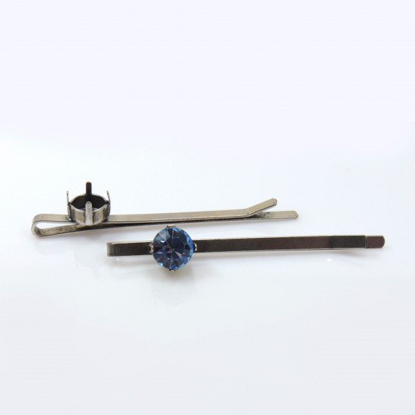 Hair Bobby Pin base fit Swarovski ss39, Antique Silver plated