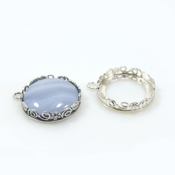 18mm Round 925 Sterling silver Bezel