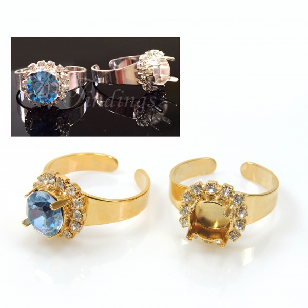 8mm Adjustable Rhinestone Ring fit Swarovski 39SS