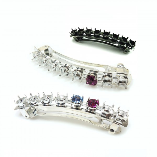 Hair Clip French Barrette for Setting Swarovski SS39