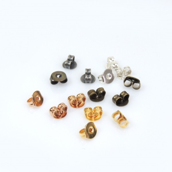 5x4mm Brass Plated Earring Backs Butterflies