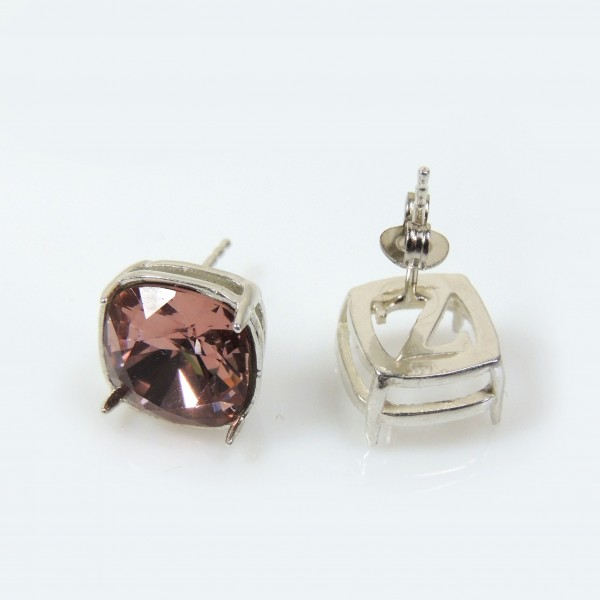Square 10mm Post Silver 925 Earring Fit Swarovski 4470