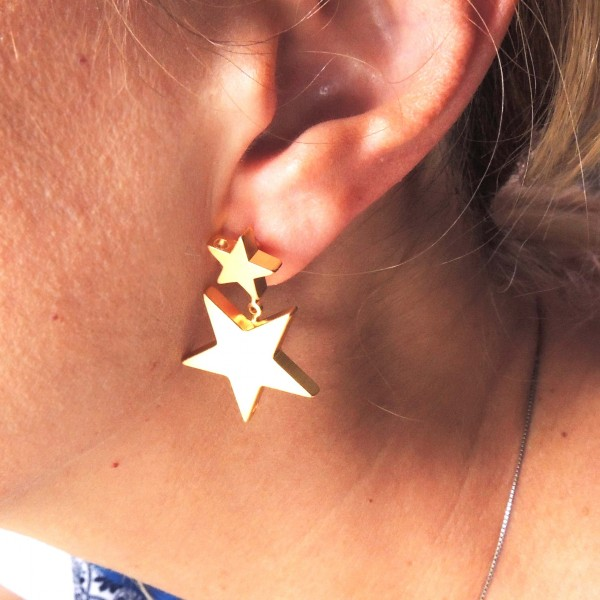 Modern Star Geometric Post Dangle Earrings