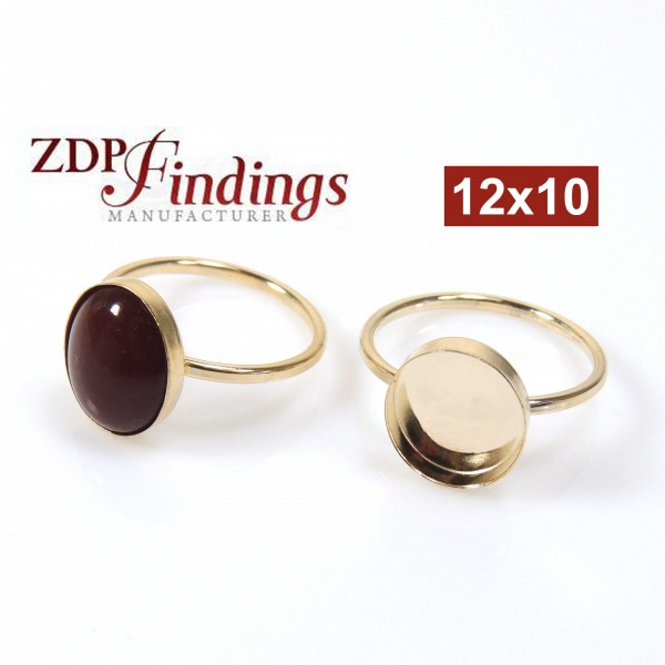 12x10mm Gold Filled 14k Oval Ring Setting