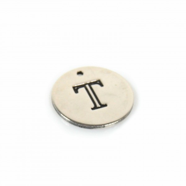 12mm Round Silver 925 Tag Disc Letter Charm