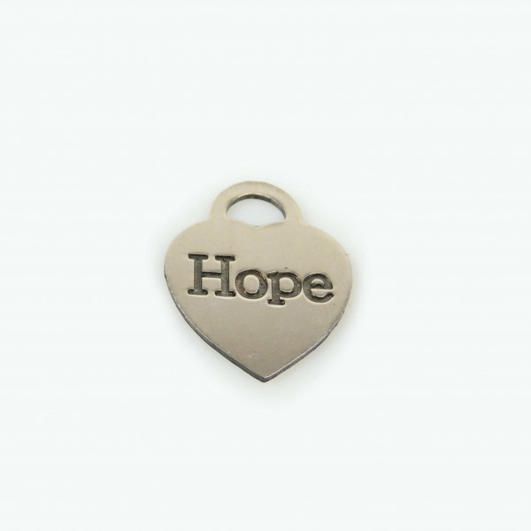 20x15mm Silver 925 Heart Tag Hope Charm Pendant Necklace