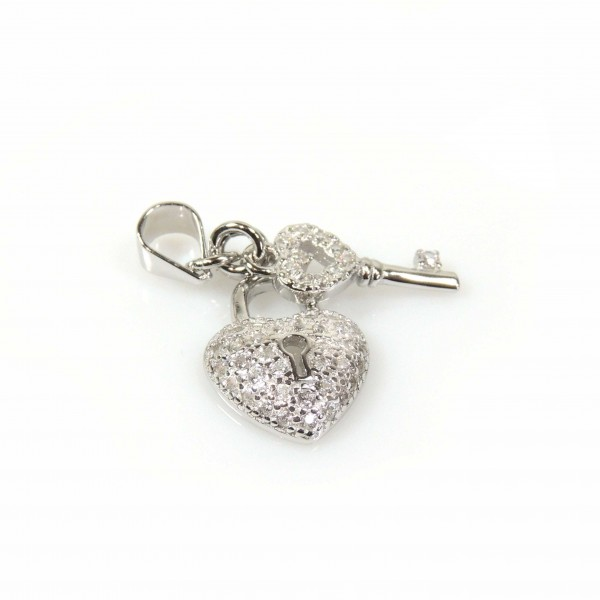 15mm Silver 925 Zirconia Lock Key pendant