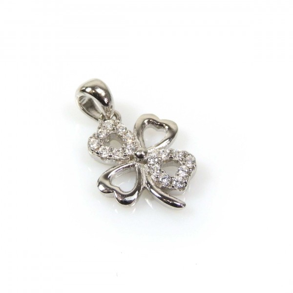 12mm Silver 925 Zirconia Leaf Clover pendant