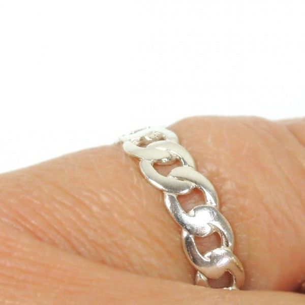 Silver 925 Chain Link Ring Band, Size US4.5