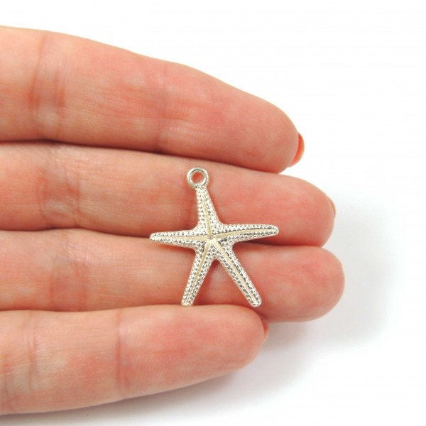 25mm Silver 925 Starfish Sea Star Pendant