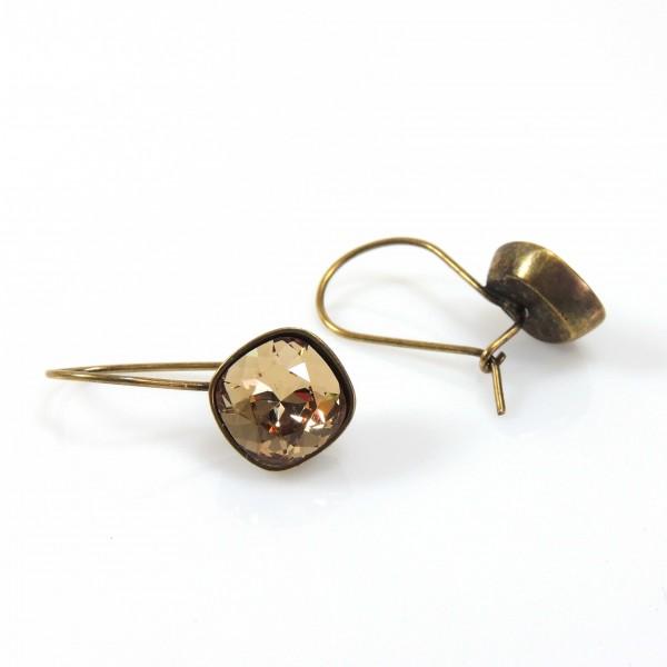 Square 10mm Antique Brass Earrings Fit Swarovski 4470