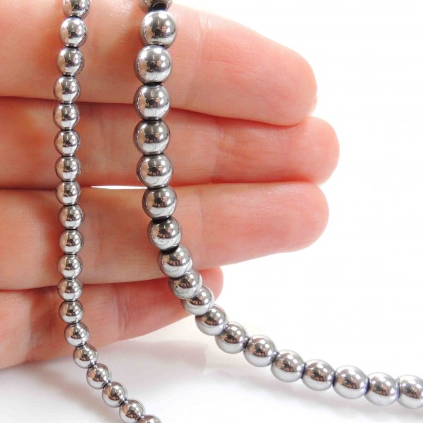 4/6mm Round Natural Silver Hematite Beads 16