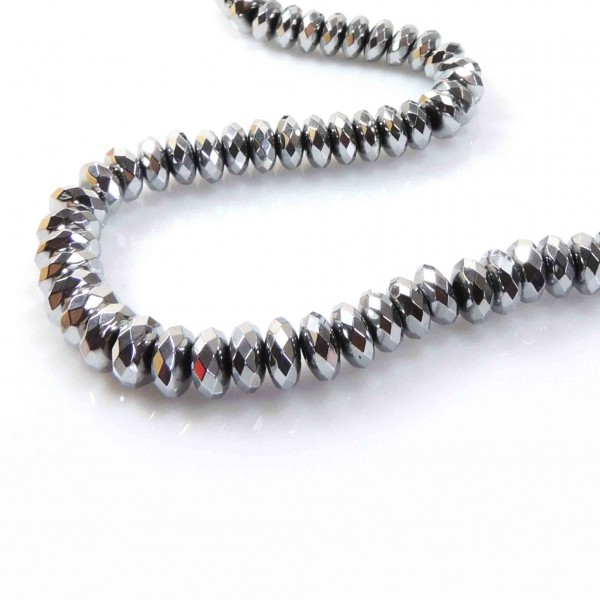 "7mm Faceted Rondelle Natural Hematite Beads 16"" (308040)"