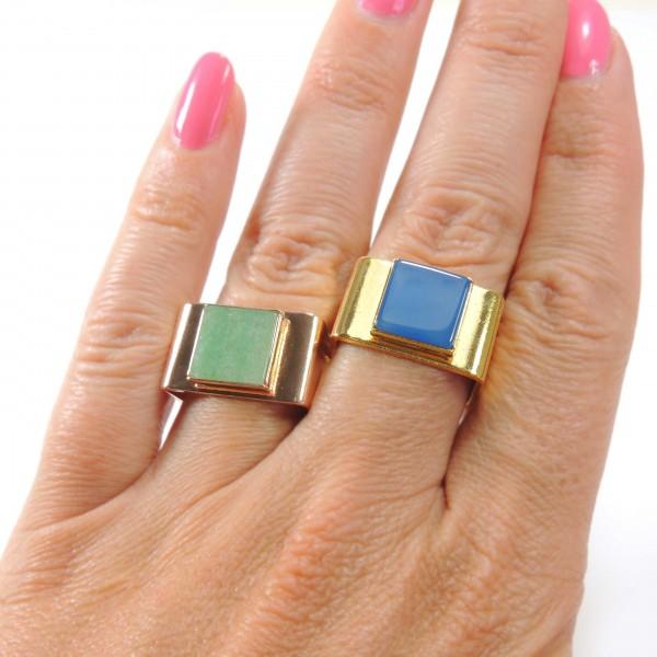Square 10mm Bezel Ring fit Flat Back Gemstone