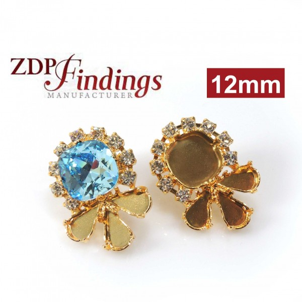 Square 12mm Bezel Earrings fit Swarovski 4470, Pear 2300