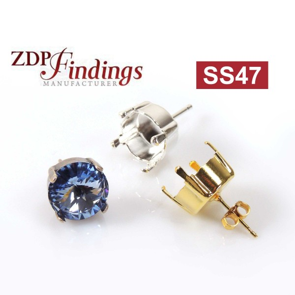 Round 10.6mm Post Earrings Fit Swarovski SS47