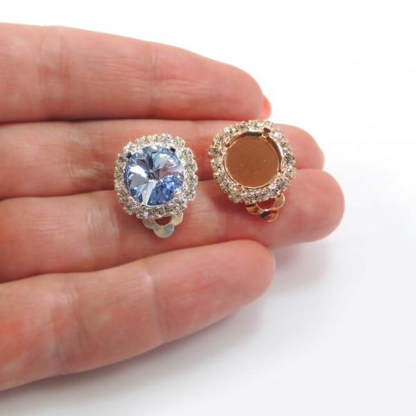 Clip on Earrings 10.6mm Round Setting fit Swarovski ss47